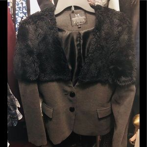 Women's Gray coat with fur